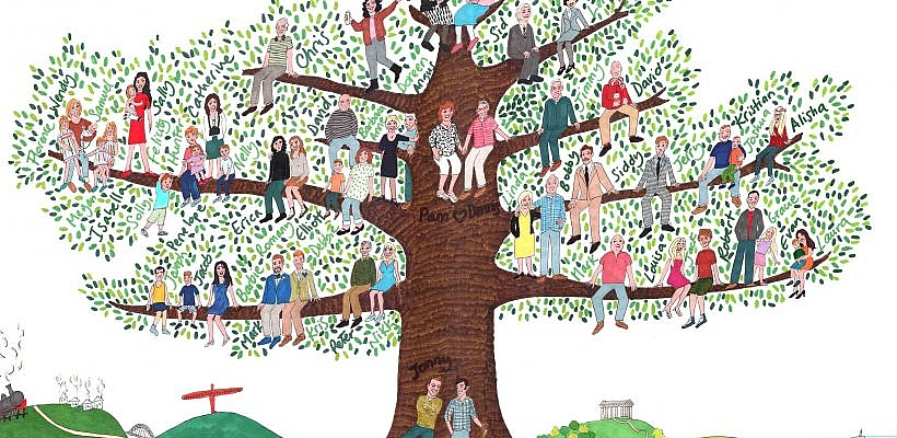 Ilustração à lápis de uma árvore genealógica